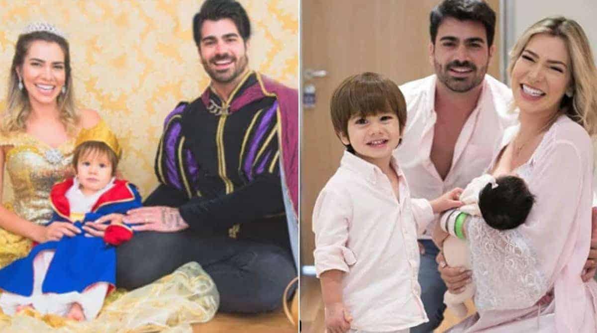 Com seus dois filhos os ex-bbbs Adriana e Rodrigão