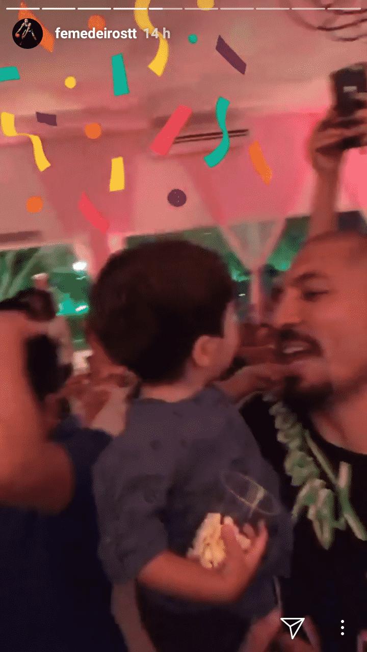 Imagem do ex-BBB Fernando Medeiros com o seu filho Lucca