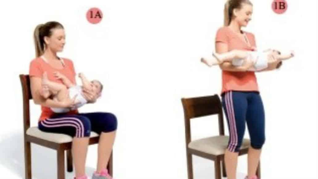 Inclua os pequenos nos exercícios para a mãe de bebê