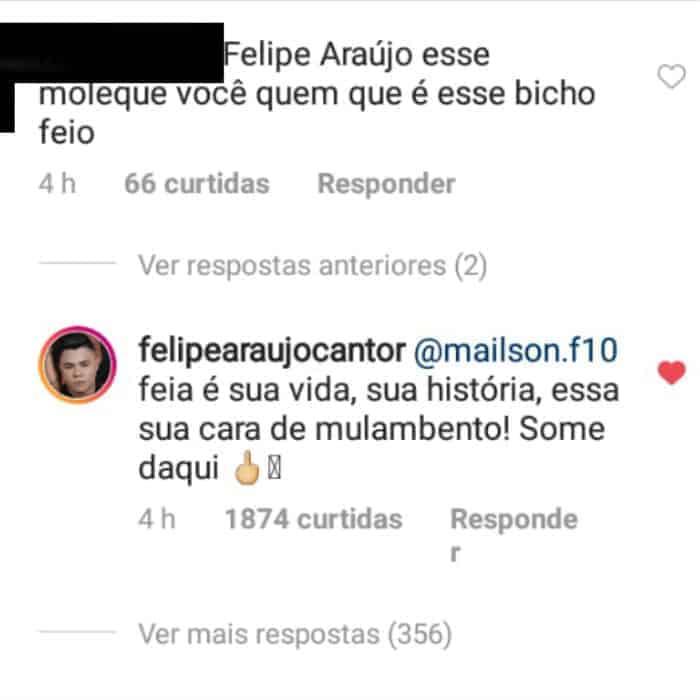 Acompanhe a resposta do cantor Felipe Araújo diante do comentário absurdo de um internauta