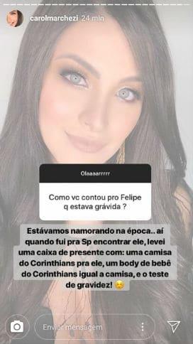 Caroline Marchezi revelou como contou a Felipe Araújo de sua gravidez