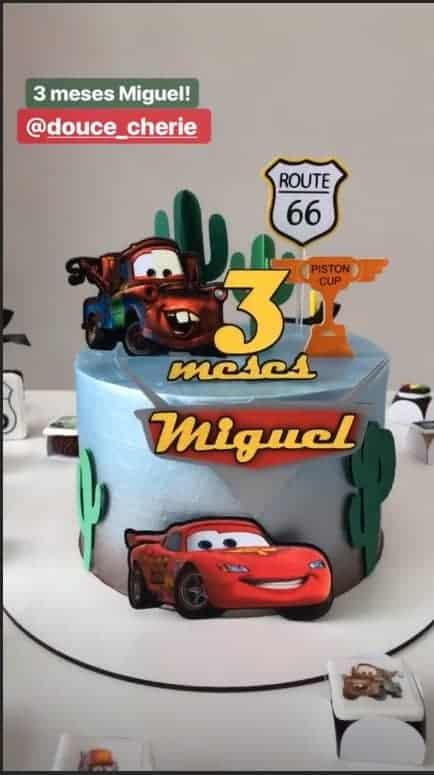 Para a festa de três meses de Miguel esse foi o lindo bolo.