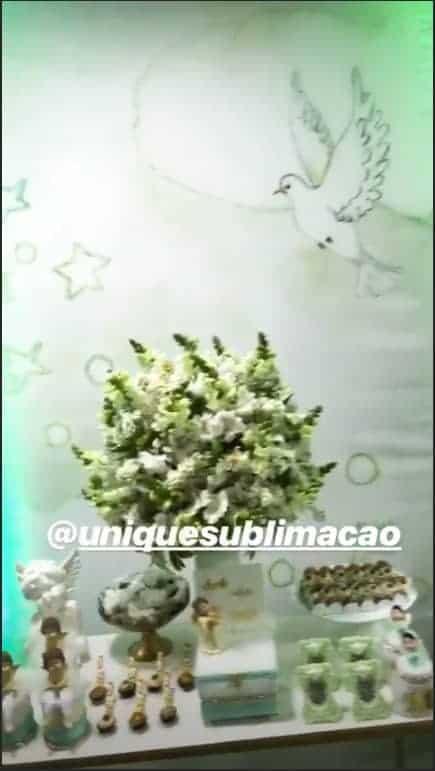 A linda decoração do batizado do filho de Felipe Araújo
