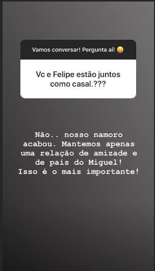 Caroline Marchezi disse sobre a separação de Felipe Araújo
