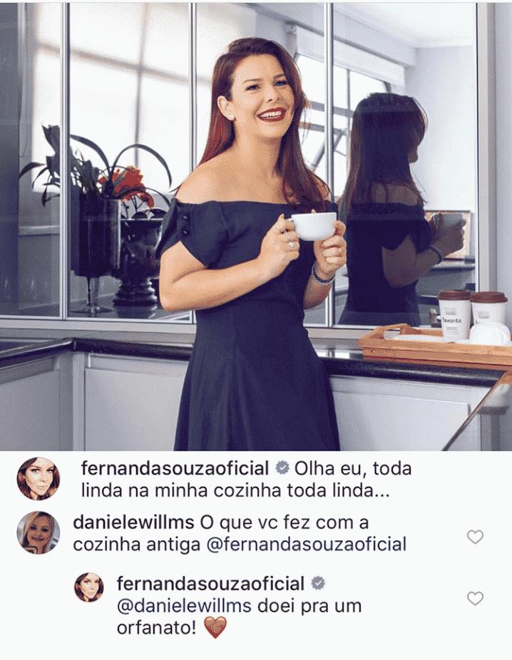 Fernanda Souza falou nessa publicação sobre a doação de sua cozinha