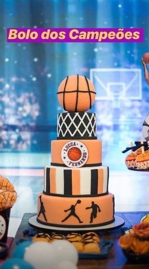 Fernando Medeiros e Lucca ganharam um bolo bem esportivo