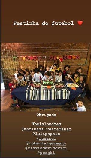 Na escolinha de futebol Davi Lucca também teve festa de aniversário