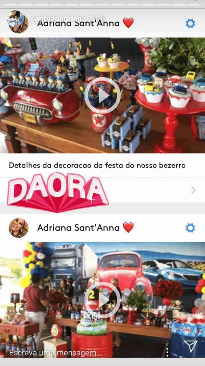 A mamãe Adriana compartilhou essa imagem da festa de seu filho Rodrigo