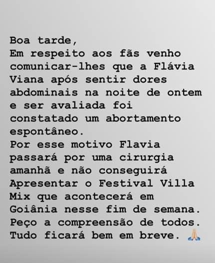 A assessoria de imprensa de Flávia Viana escreveu este comunicado sobre a perda