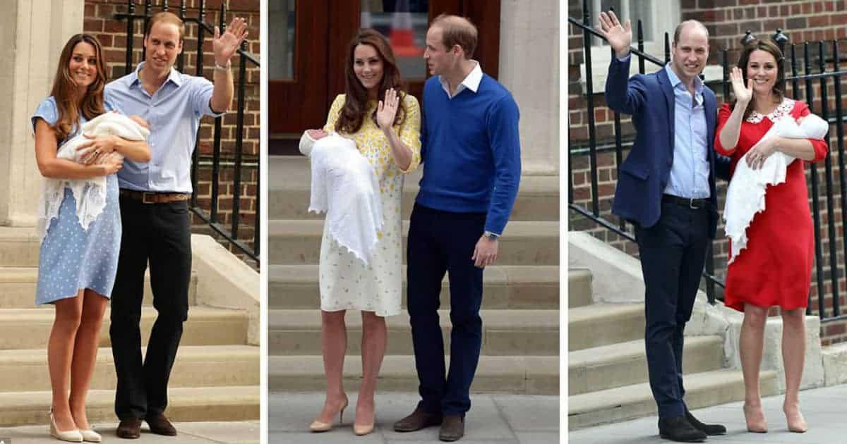 Kate e Willian com os recém-nascidos