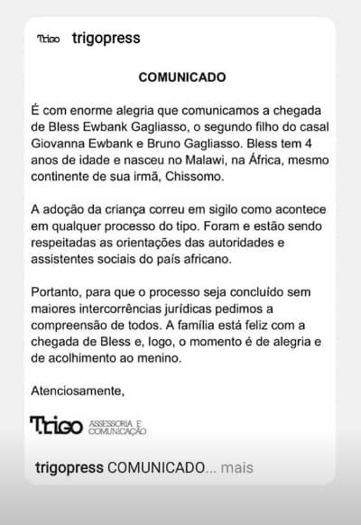 Nota de Giovanna Ewbank e Bruno Gagliasso sobre a adoção