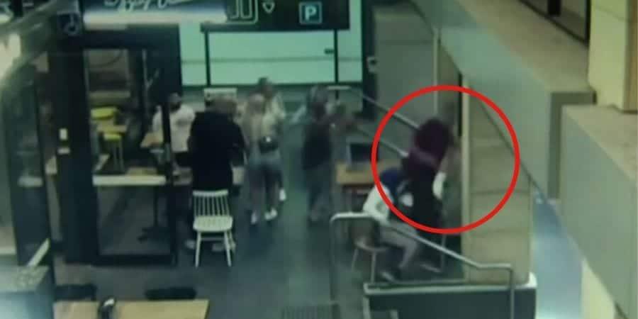 Momento que homem atacou a mulher grávida