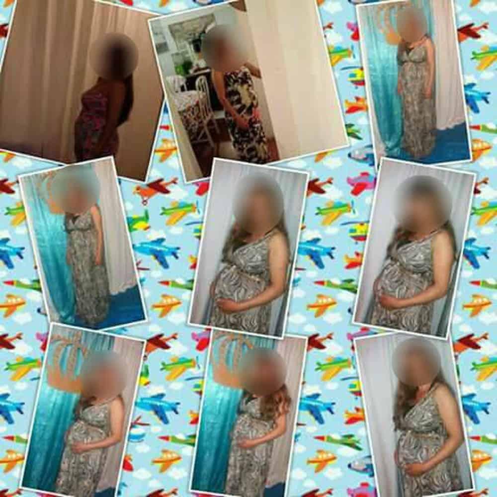 Várias fotos da mulher grávida
