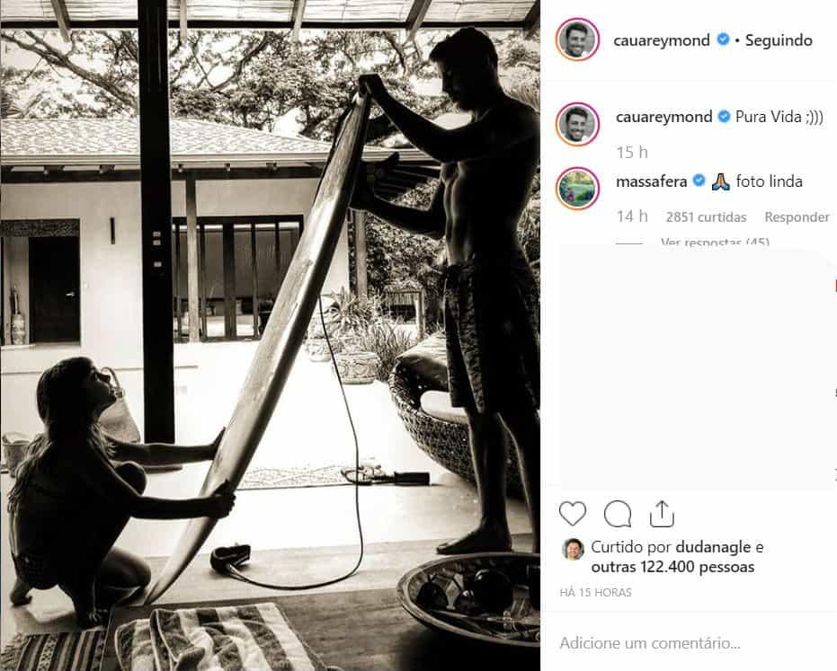 Grazi Massafera comentou nesta foto de Cauã Reymond com a filha