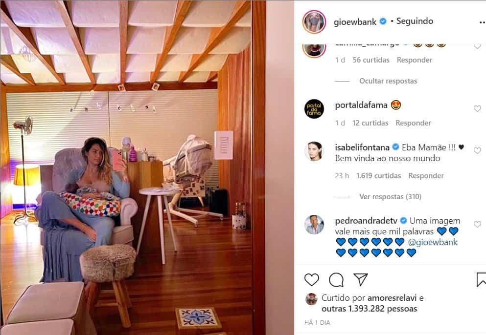 Comentário feito por Isabeli Fontana no post de Giovanna Ewbank