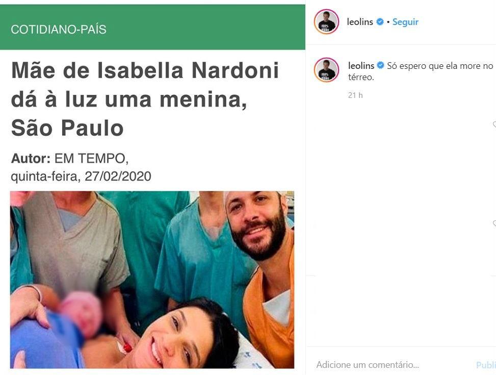Piada que Léo Lins fez com parto da mãe da menina Isabella Nardoni