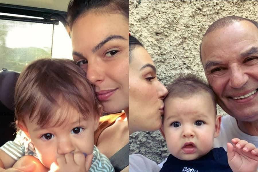 Isis Valverde em fotos com seu bebê e com o pai