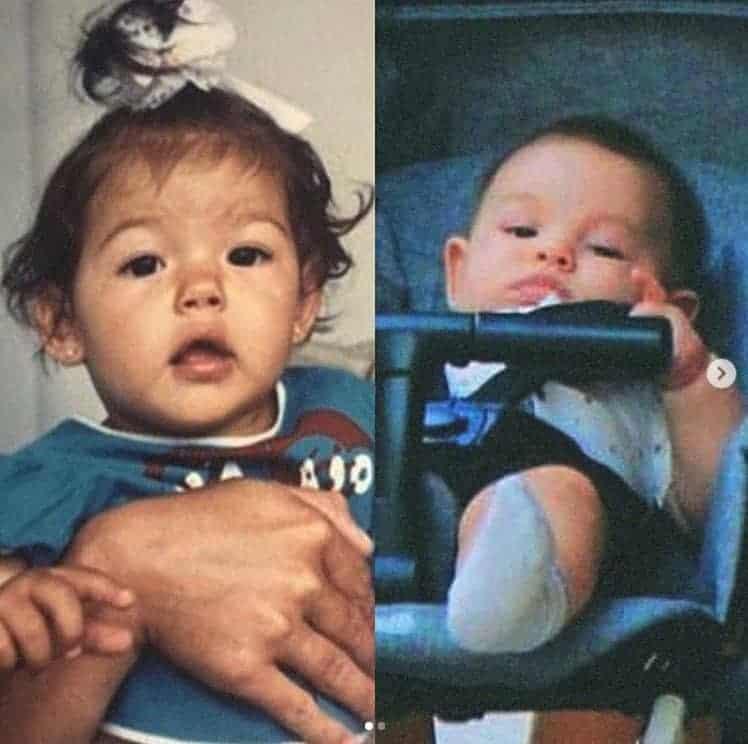 Na imagem da esquerda a atriz Isis Valverde quando era criança e seu filho Rael