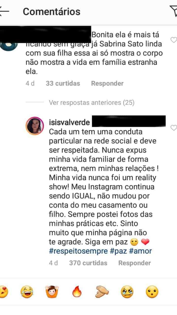 Essa foi a resposta de Isis Valverde para o internauta após ser comparada com Sabrina Sato