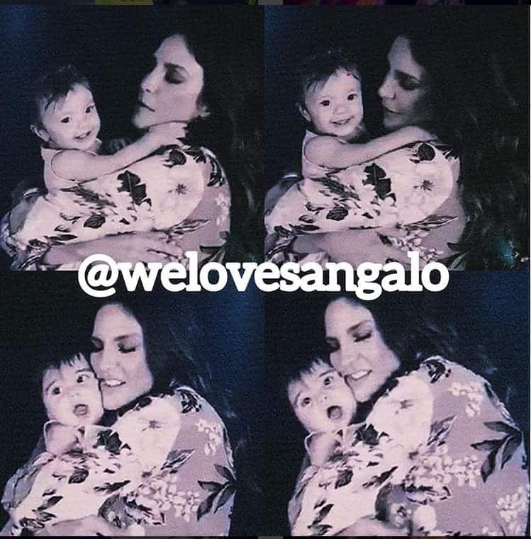 Na montagem a cantora Ivete Sangalo com suas filhas gêmeas no colo, Marina e Helena