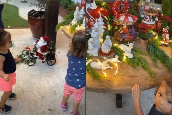 Filhas gêmeas de Ivete Sangalo com a decoração de natal