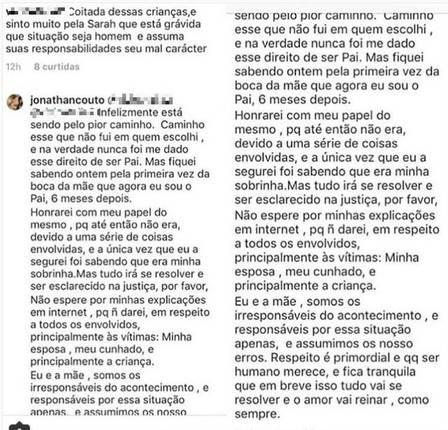 Saiba o que Jonathan Couto disse sobre sua filha com a atriz Letícia Almeida