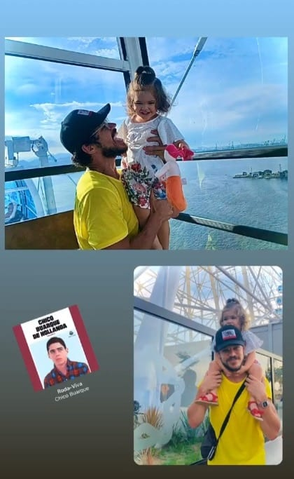 José Loreto com sua filha na roda gigante