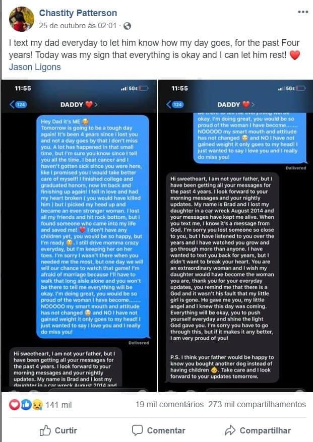 Mensagem que jovem recebeu ao contatar celular do pai