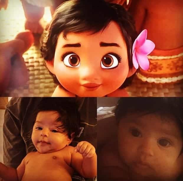 A web criou várias imagens comparando a bebê de Juliana Alves com a Moana