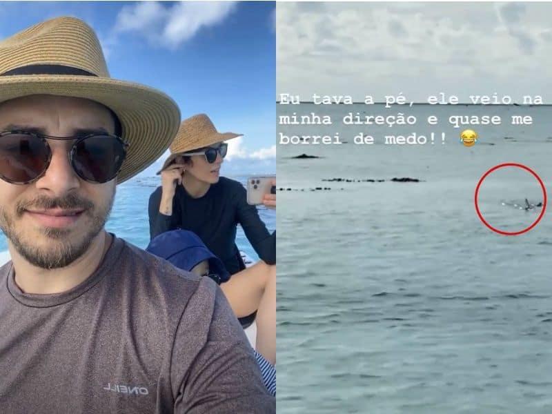 Junior, esposa e filho no passeio na Polinésia Francesa e o tubarão que eles acharam