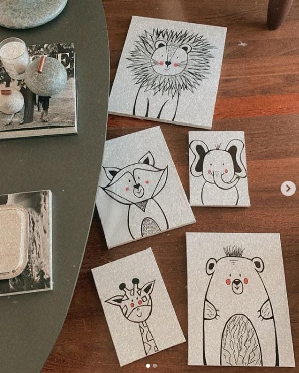 Quadrinhos que Carol Dias pintou para filha com Kaká