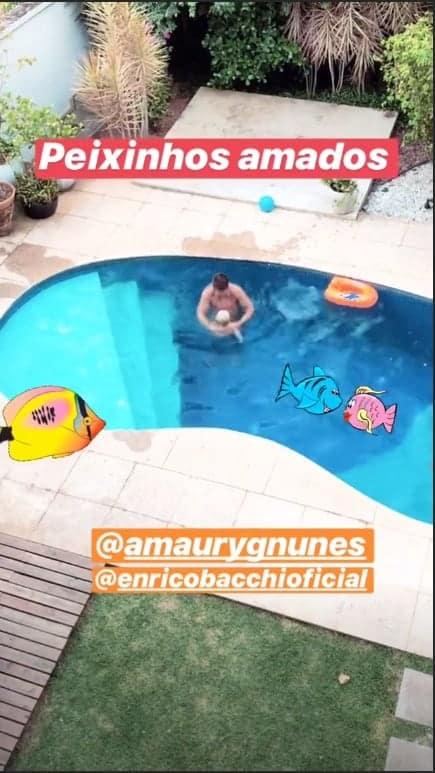 Amaury Nunes e Enrico se divertindo juntos