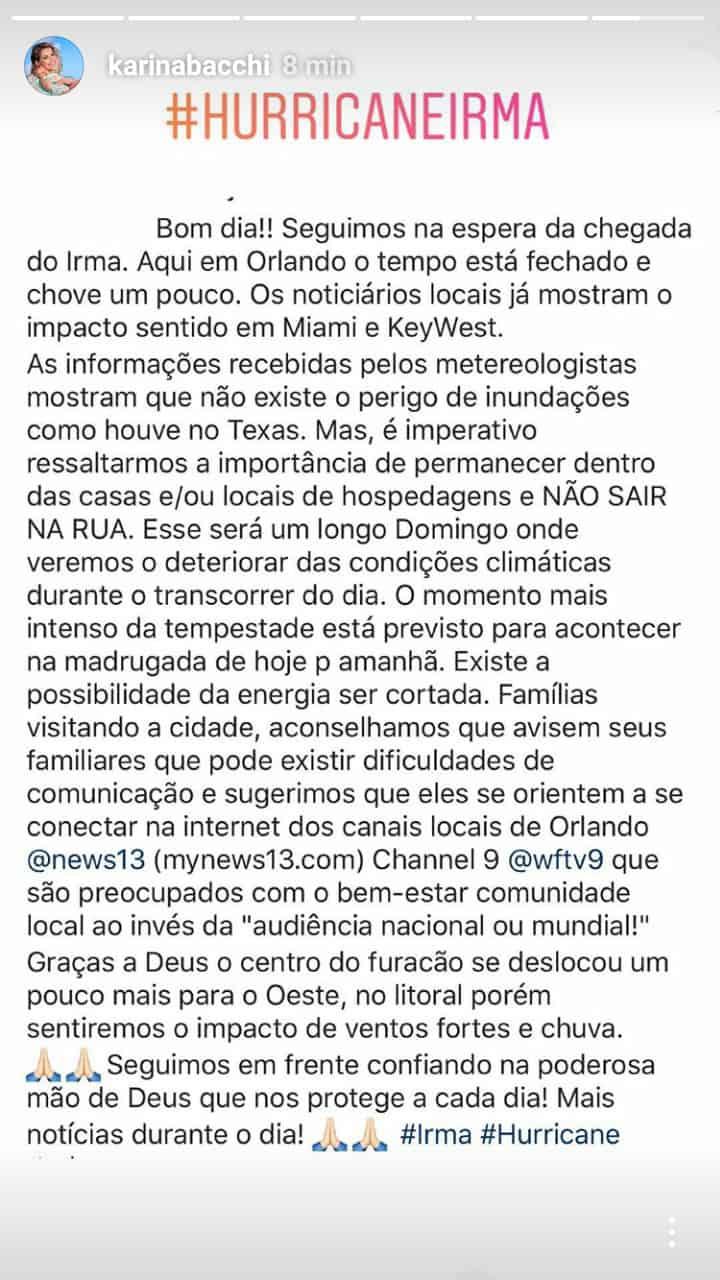 Post de Karina Bacchi sobre o furacão