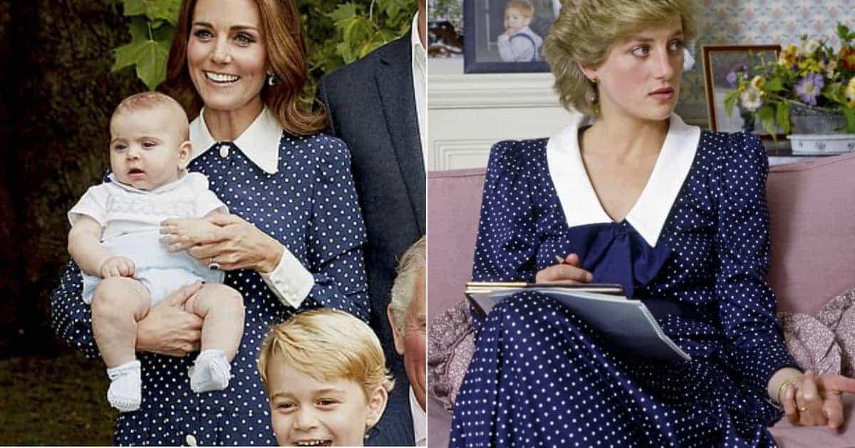 A duquesa Kate Middleton hoje com um look parecido com o da princesa Diana em 1985