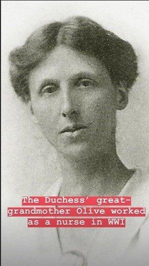 A bisavó de Kate Middleton, Olive, que foi enfermeira na Primeira Guerra Mundial