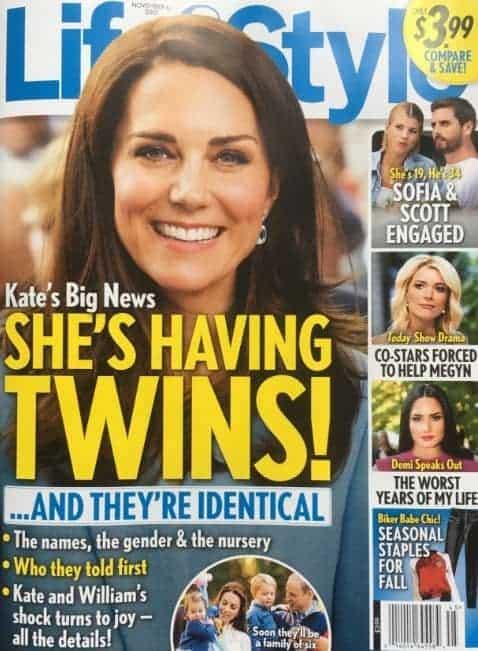 Essa foi uma das muitas capas da Revista Life & Style que noticiou que duquesa Kate Middleton estava grávida de gêmeos