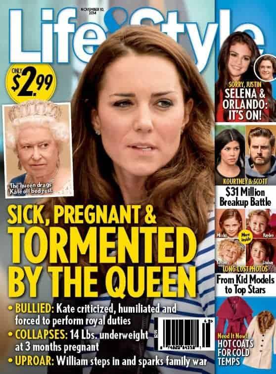 Essa foi a capa da Revista Life & Style que afirmou que a duquesa Kate Middleton estaria sendo atormentada pela Rainha Elizabeth