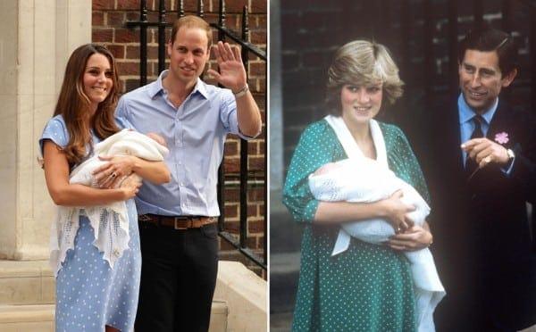 Uma montagem das imagens da duquesa Kate Middleton deixando a maternidade após o parto do príncipe George e a princesa Diana deixando a maternidade após o parto do príncipe William