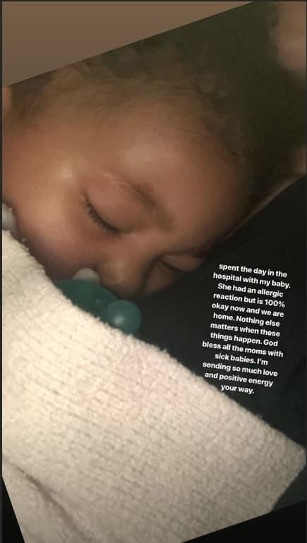 Foto postada por Kylie Jennerr de sua bebê ao voltar do hospital