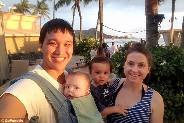 Lauren Lew, amiga da atriz Ruthie Ann Miles, nessa foto com sua família