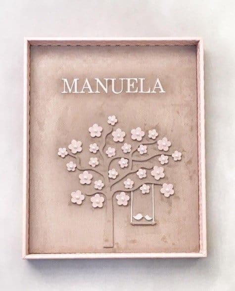 Manuela ganhou um lindo quadrinho para enfeitar o quarto da maternidade