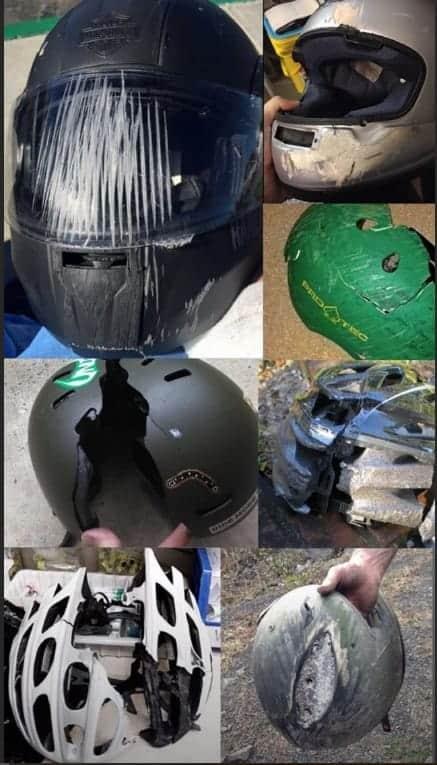 Luciano Huck mostrou capacetes após acidentes