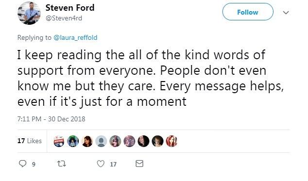 Essa foi a publicação do pai Steven nas redes sociais