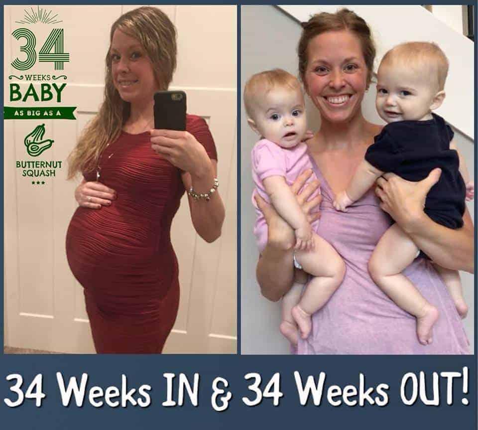 A mamãe grávida de 34 semanas