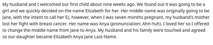 Relato feito pela mãe sobre o nome de sua filha