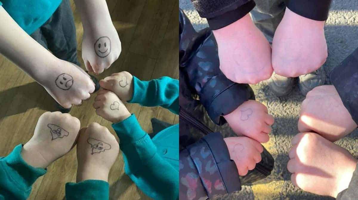 Para prevenir o coronavírus, mãe desenhou nas mãos dos filhos para fazê-los lavá-las