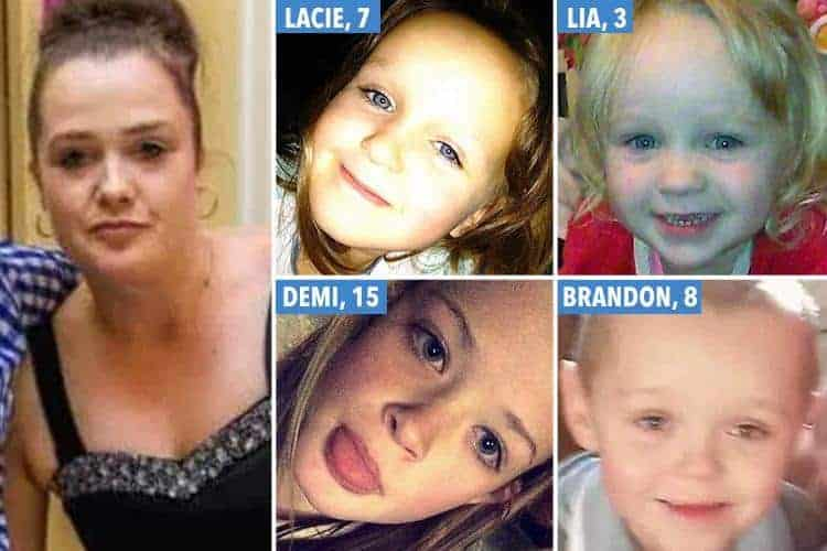 Mãe, as filhas e seu menino que foram vítimas do incêndio