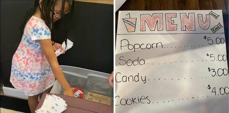 As crianças precisam ajudar nas tarefas para irem no cinema criado pela mãe