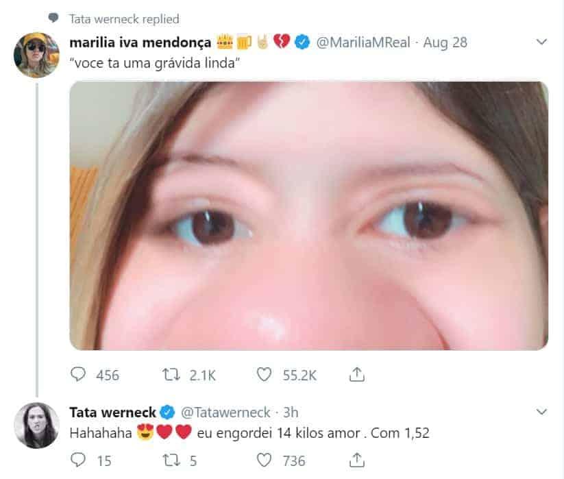 Marília Mendonça postou foto engraçada da gravidez e Tatá Werneck respondeu