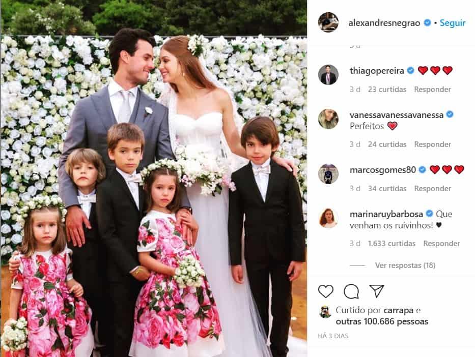 Comentário feito por Marina Ruy Barbosa na foto de seu marido